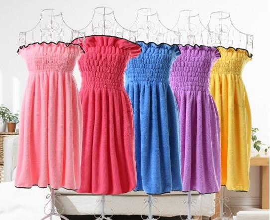 超細纖維珊瑚絨荷葉邊公主浴裙及浴帽組
