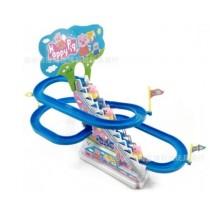 小豬電動音樂自動爬樓梯軌道玩具組