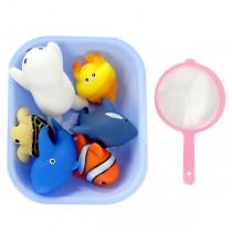 6入海洋動物洗澡玩具啾啾及水盆及撈網(海龜版)