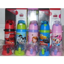 新款迪士尼兒童雙用吸管/直飲304不锈鋼保溫水壺500ml