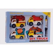 兒童益智拆裝工程車套裝組(4台車及工具組)