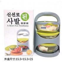 韓式手提三入保鮮碗附手提籃