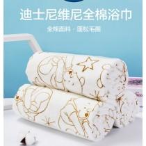 迪士尼維尼熊長條柔軟印花浴巾 (免運商品)